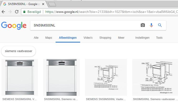 Siemens vaatwasser opzoeken in google